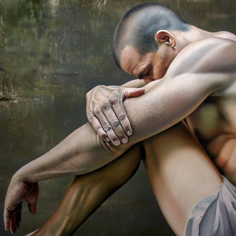 oil painting sad man christiane vleugels
