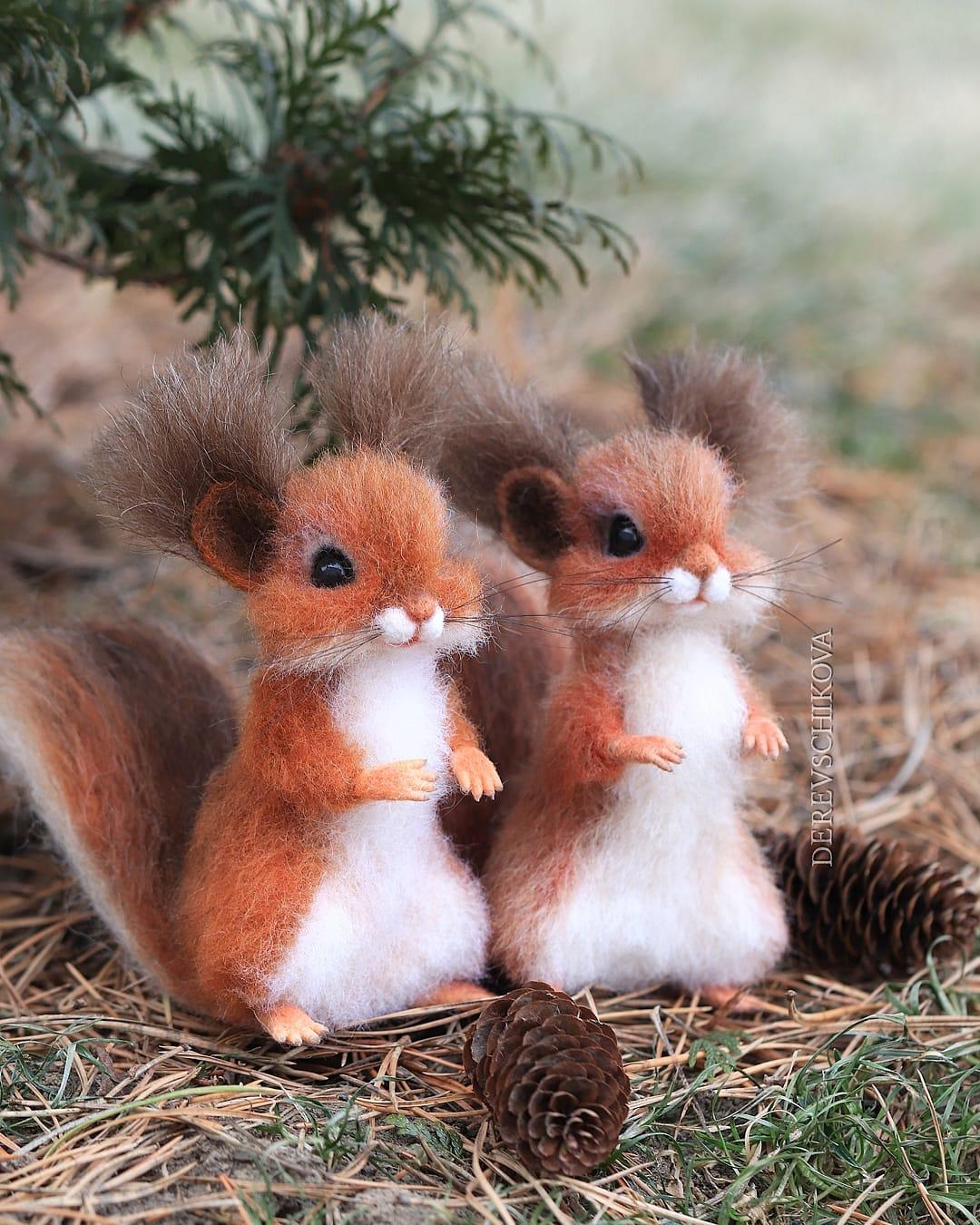 felting sculpture squirrels derevschikova