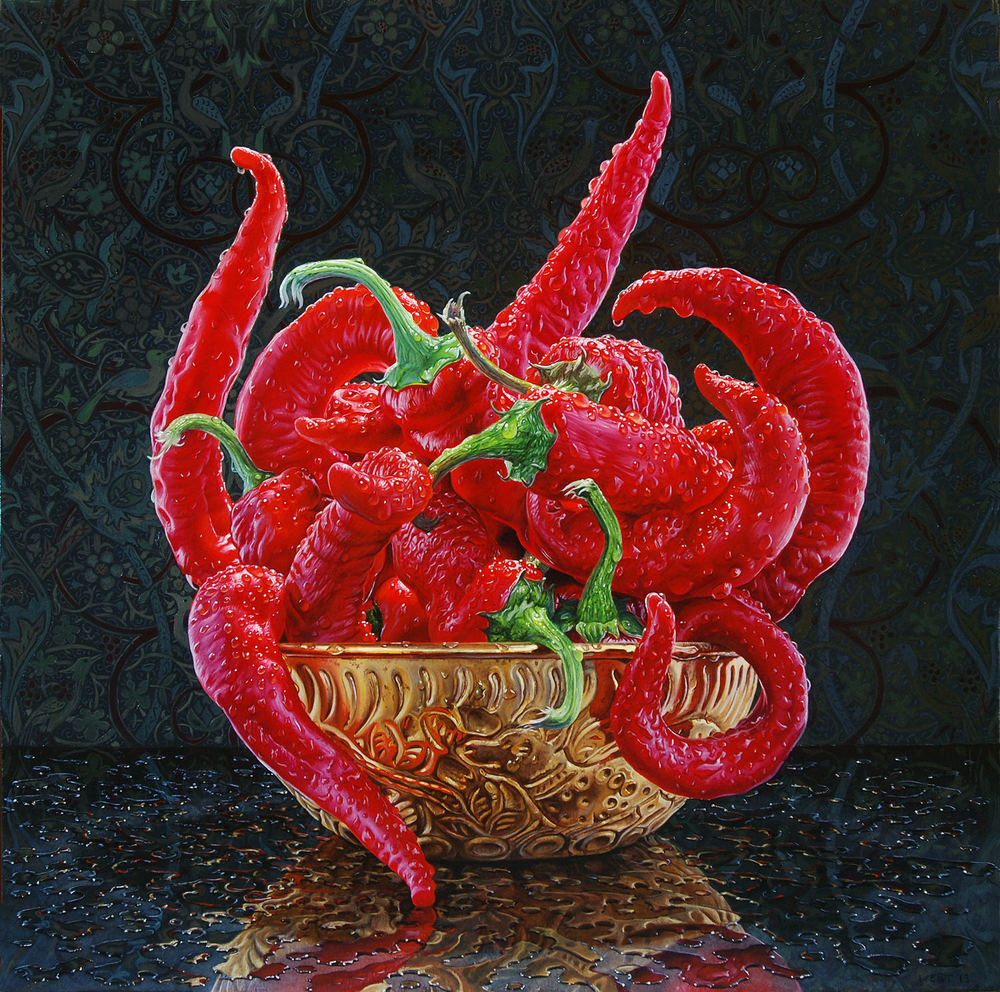 3 still life oil paintings chilli eric wert