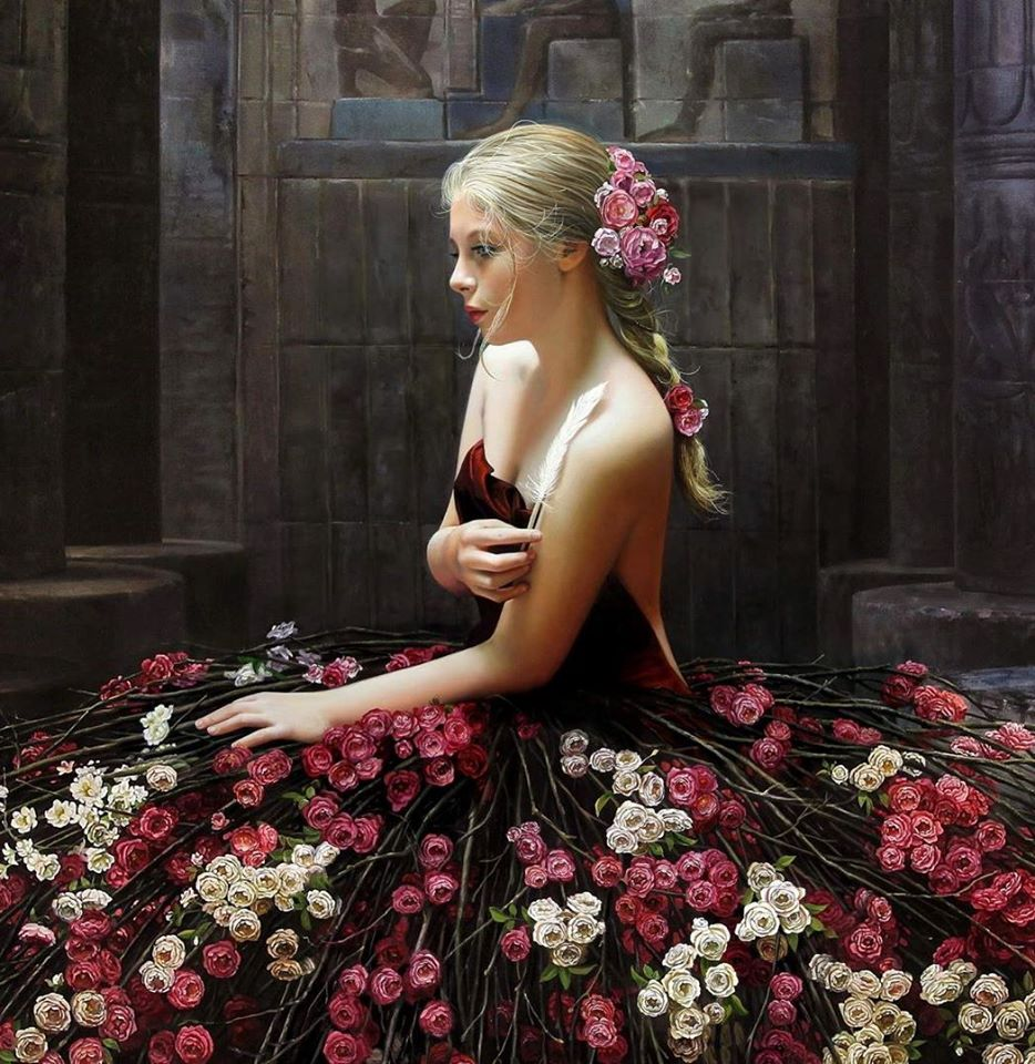 4 oil painting flower girl christiane vleugels