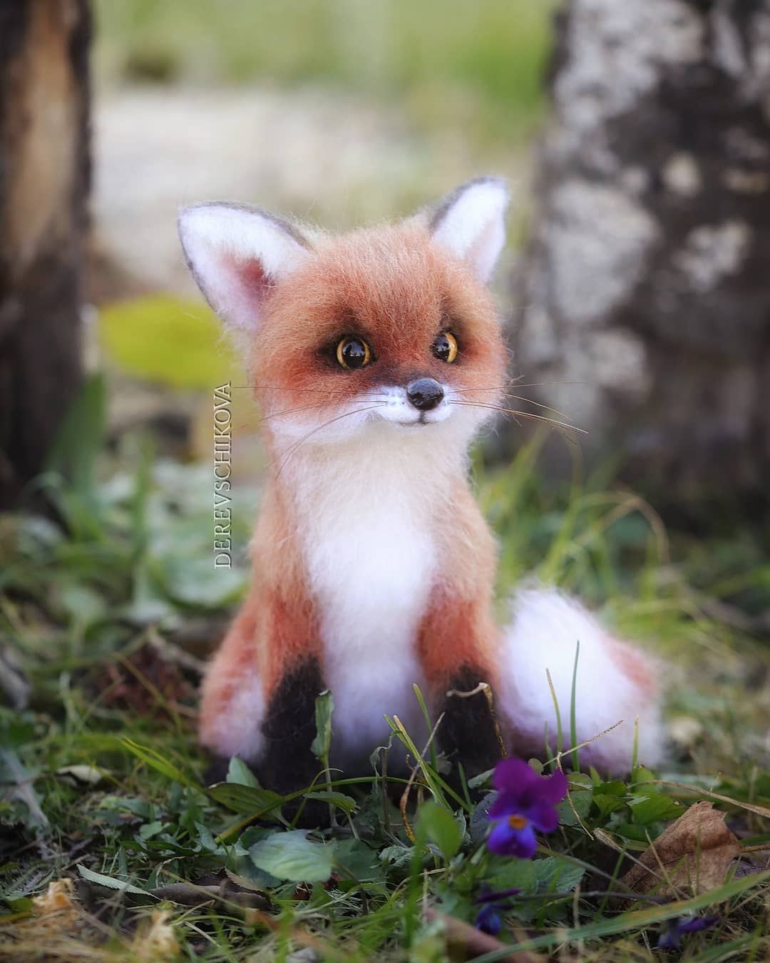 felting sculpture fox derevschikova