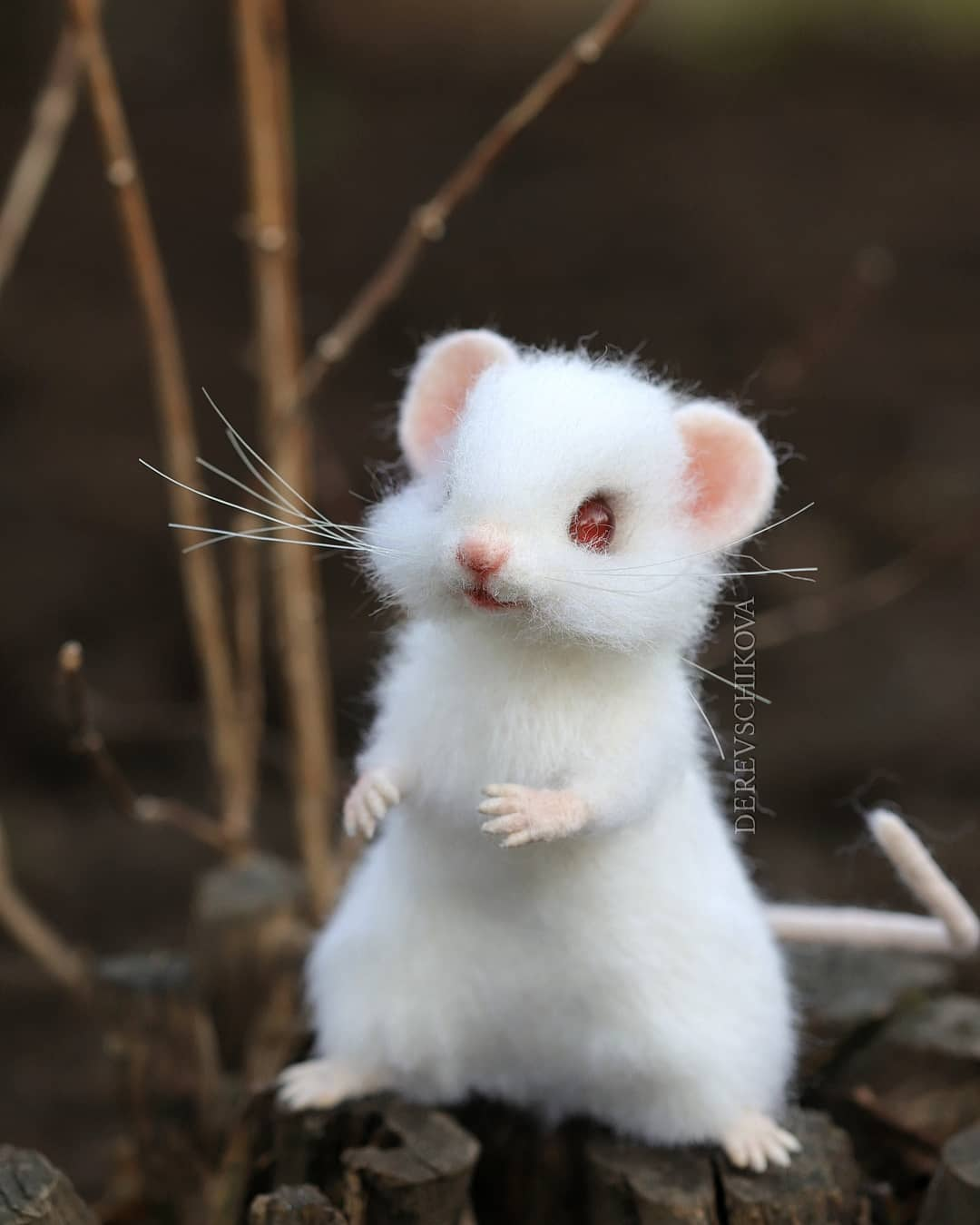felting sculpture mouse derevschikova