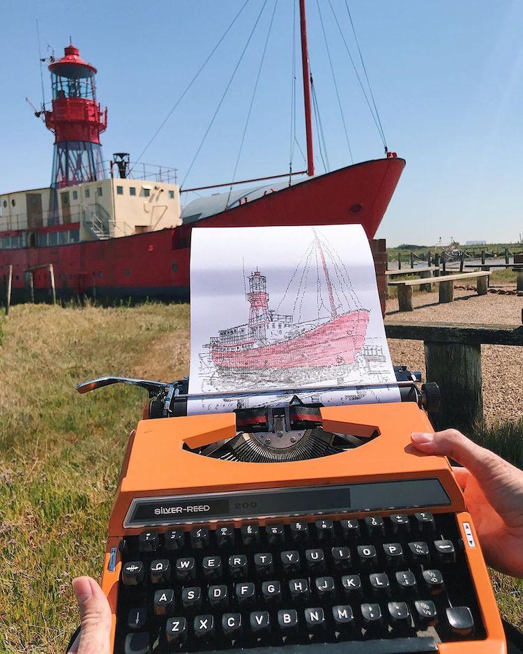 typewriter art ship by james cook
