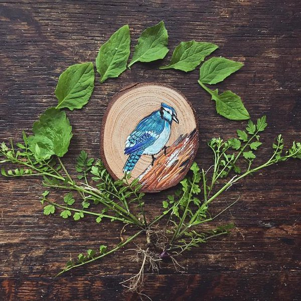 miniature painting wood bird by gracemere woods