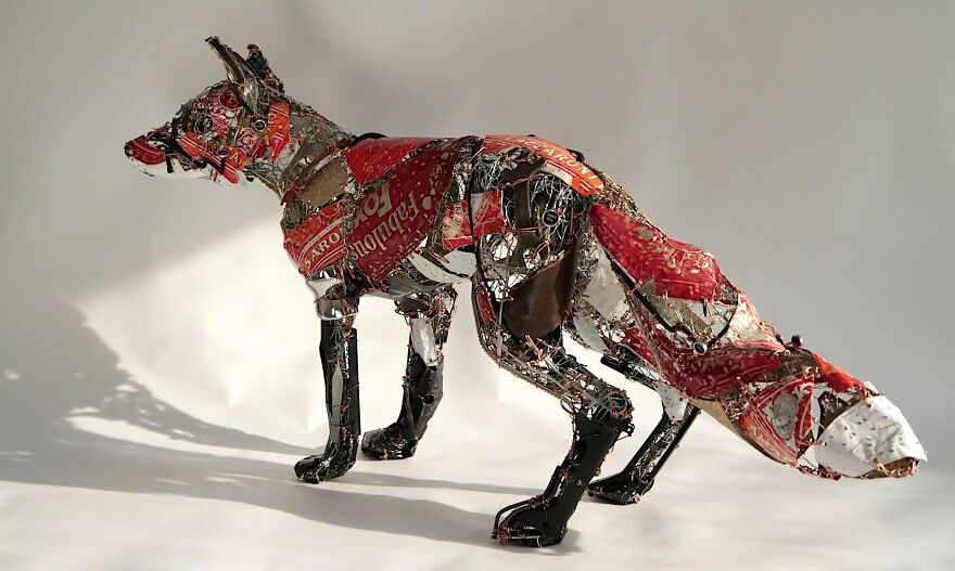 sculpture recycled material sculpture dog recycled waste by barbara franc