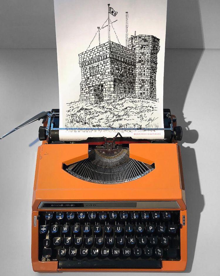 typewriter art tower by james cook