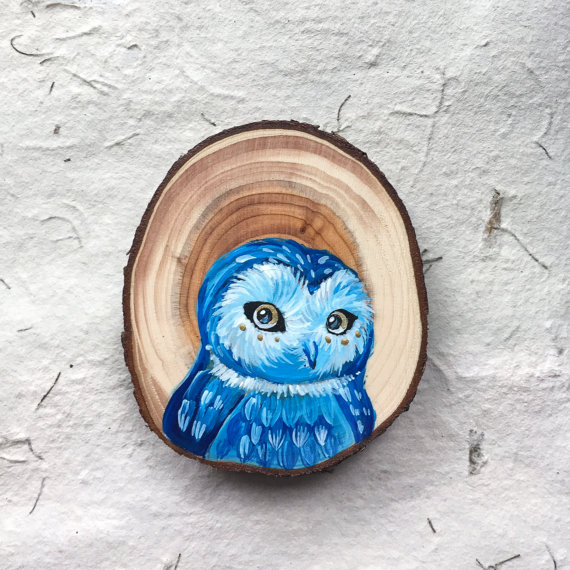 miniature wood painting owl by gracemere woods