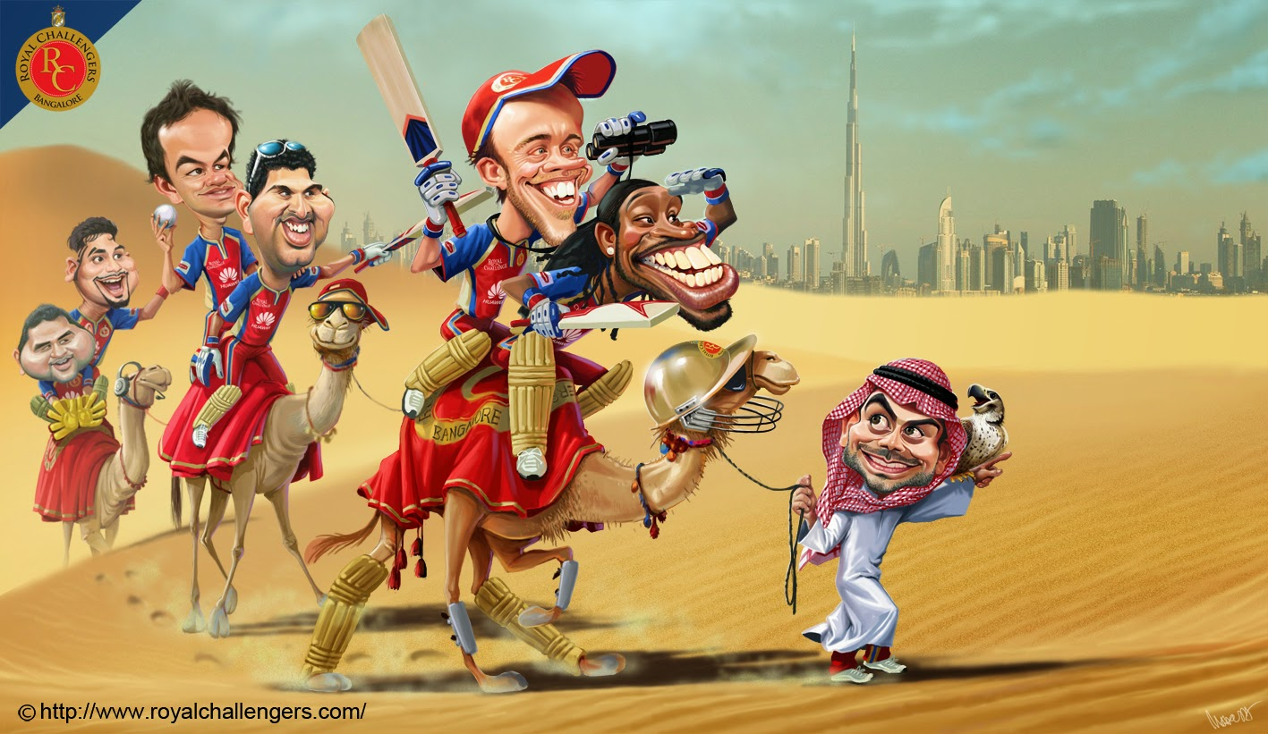 12 caricature rcb desert by mahesh nambiar