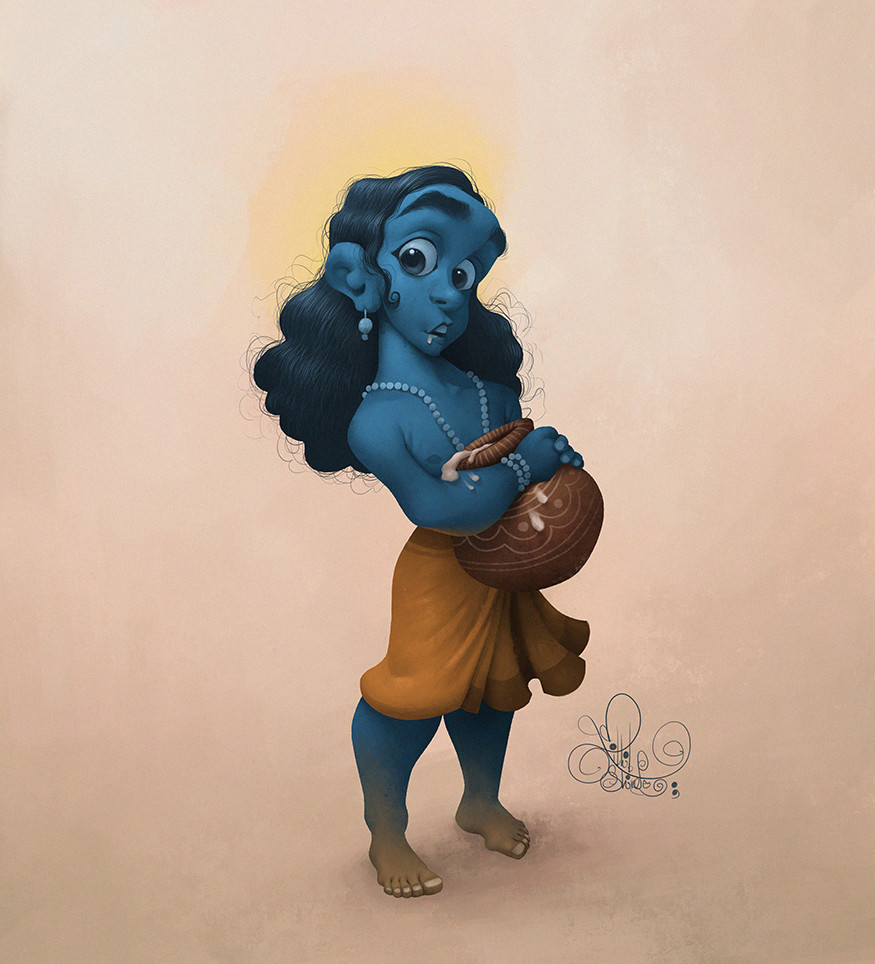 12 digital illustration krishna by nikhil shinde