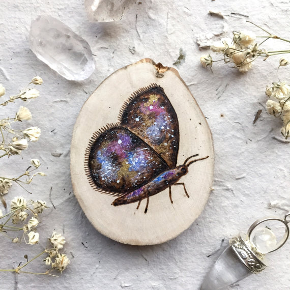miniature wood painting butterfly by gracemere woods