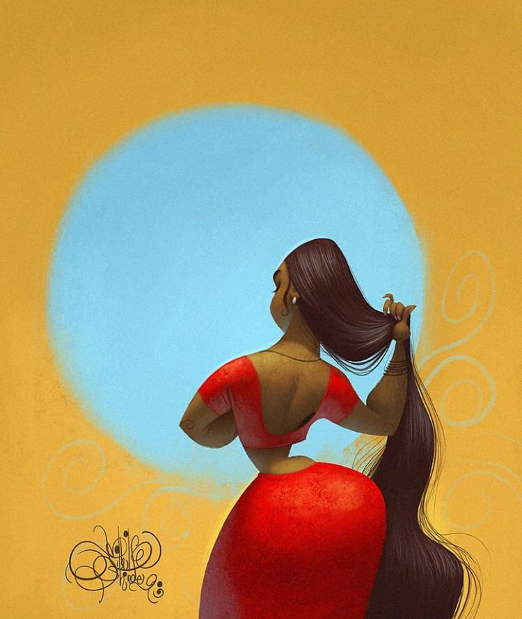 digital illustration long hair by nikhil shinde