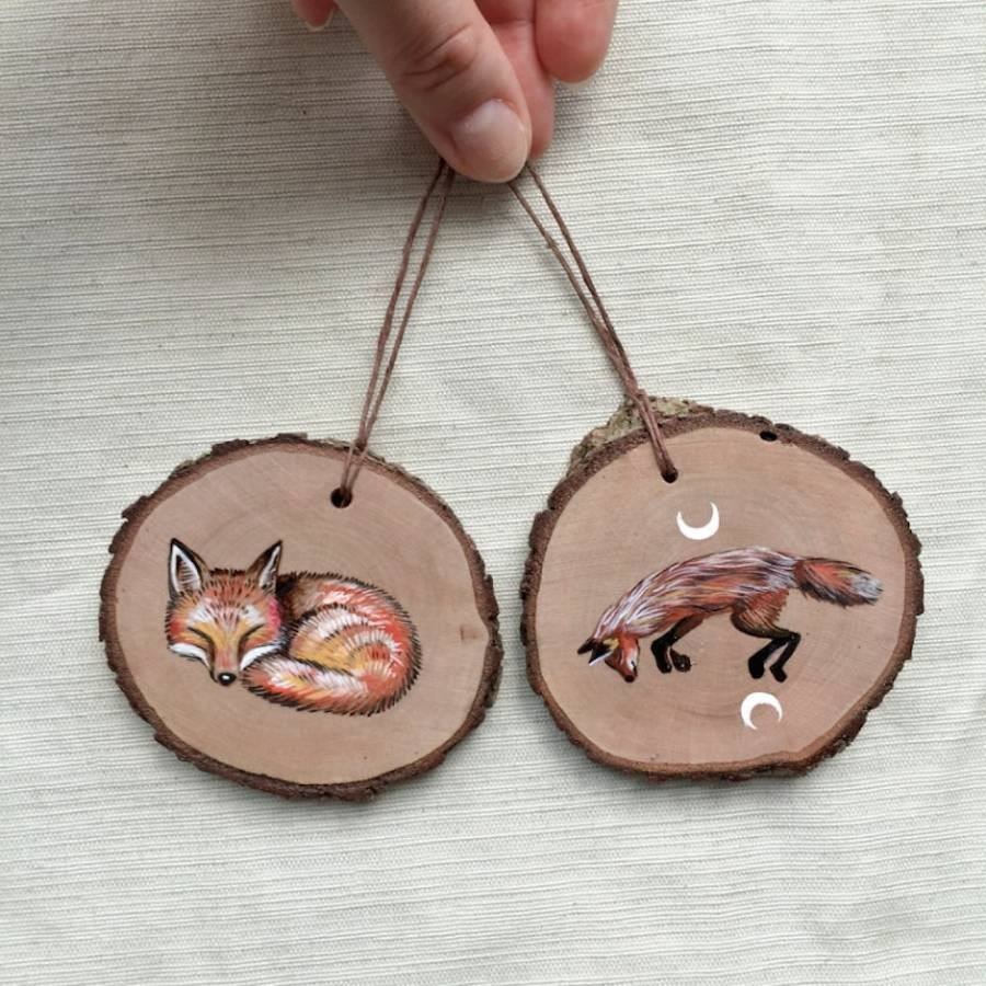 miniature wood painting fox by gracemere woods