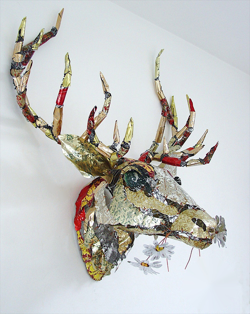 sculpture recycled material stag head by barbara franc