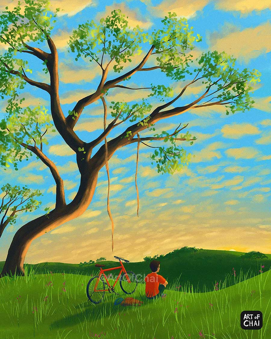 digital illustration lonely tree by artofchai