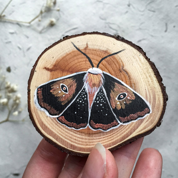 14 miniature wood painting butterfly