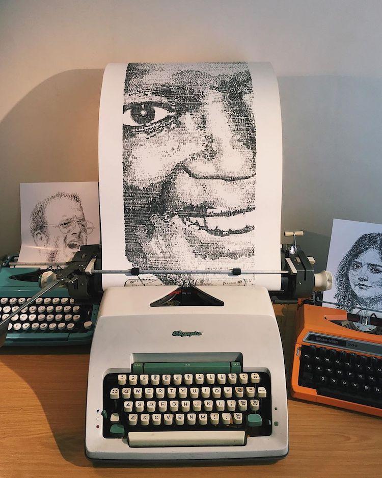 typewriter art portrait by james cook