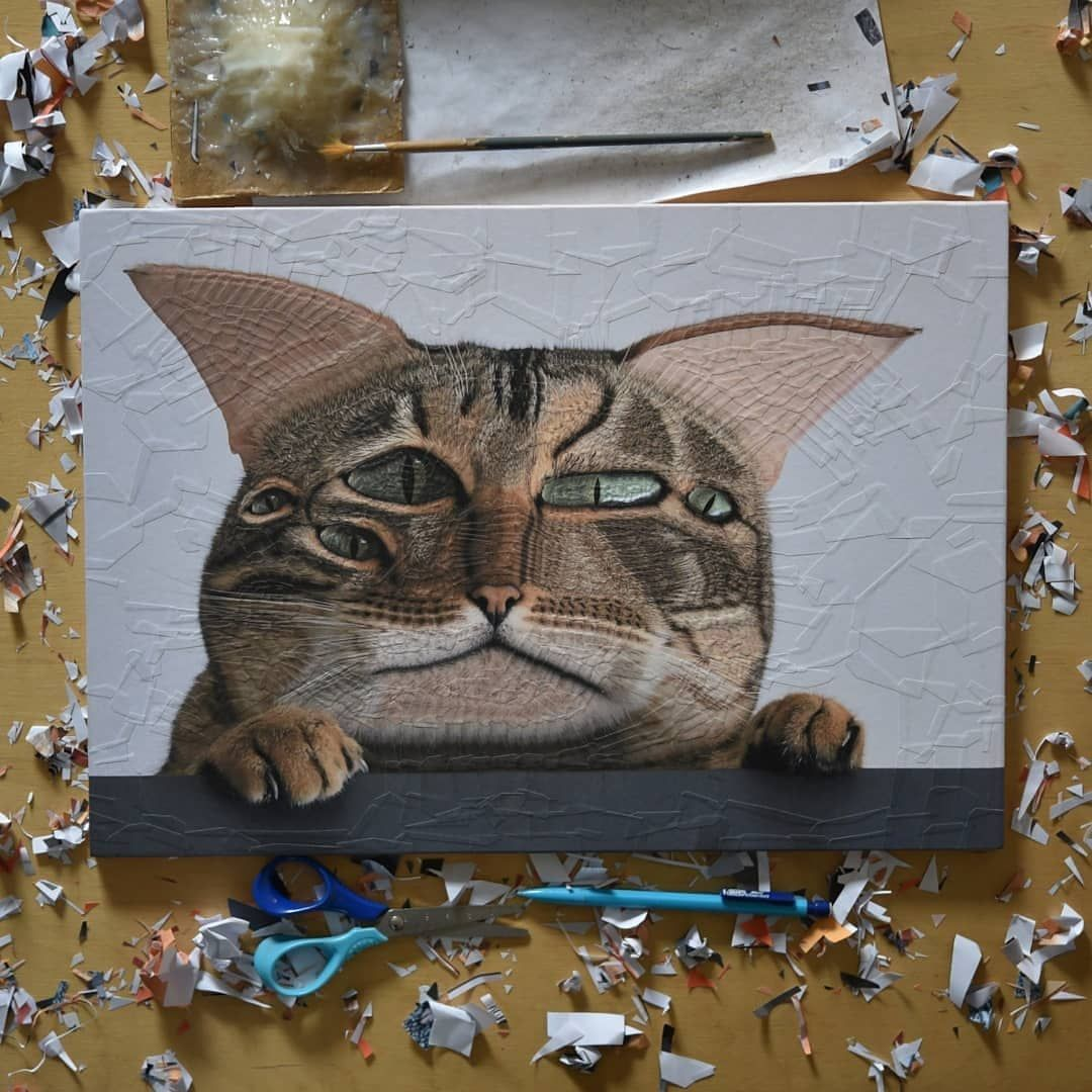 15 cat painting collage meow by lola dupre