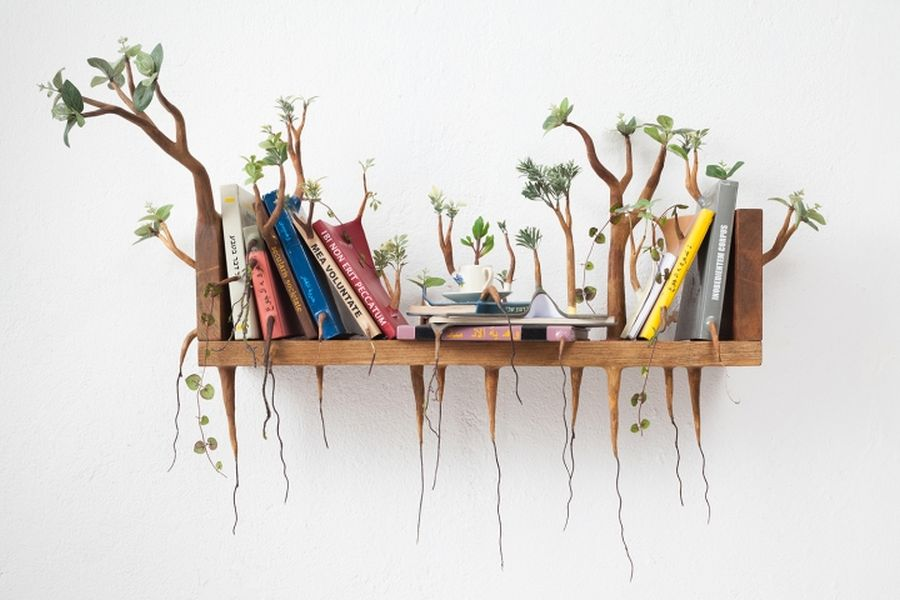 15 creative wood sculpture ideas shelf
