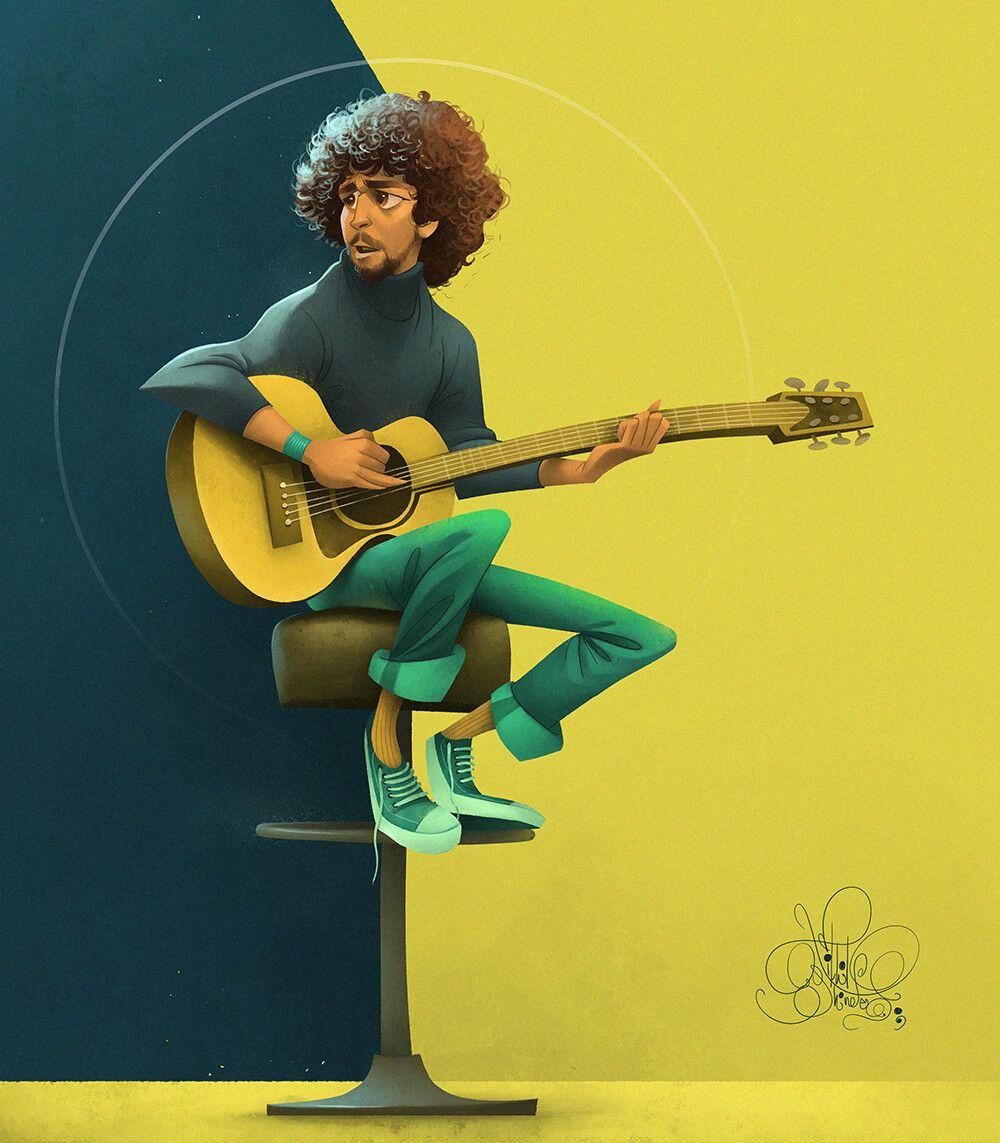 digital illustration guitar by nikhil shinde