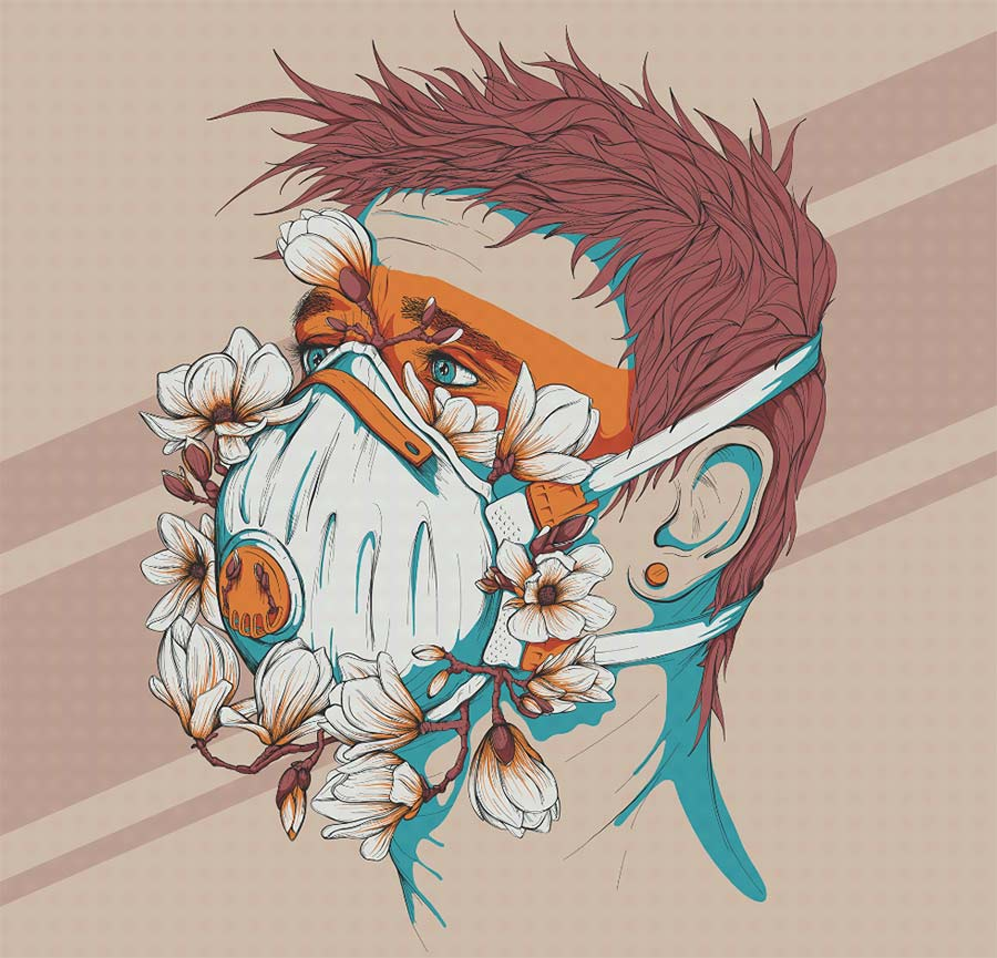15 digital illustration mask man by mahesh nambiar