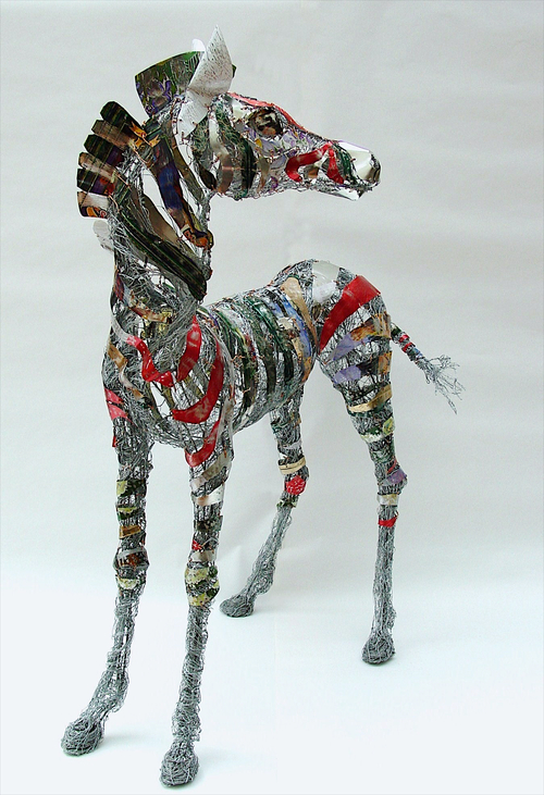 sculpture recycled material zebra by barbara franc