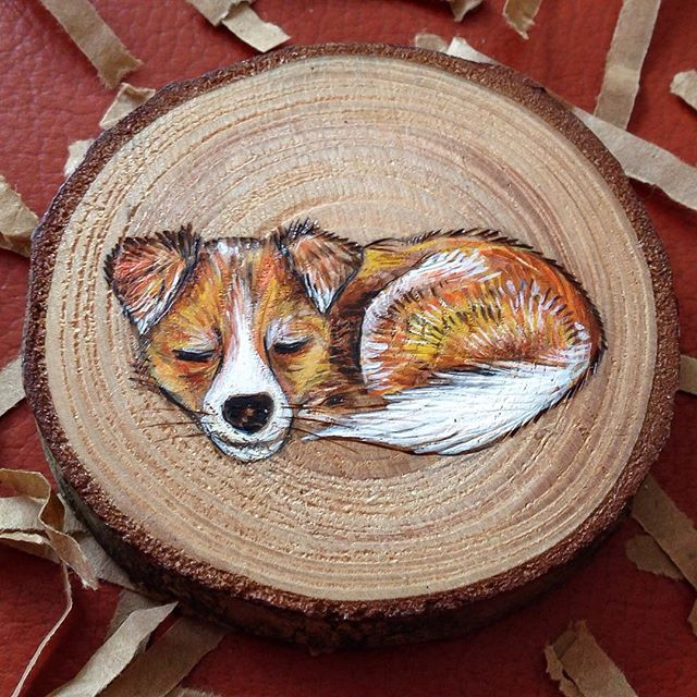 miniature painting wood puppy by gracemere woods