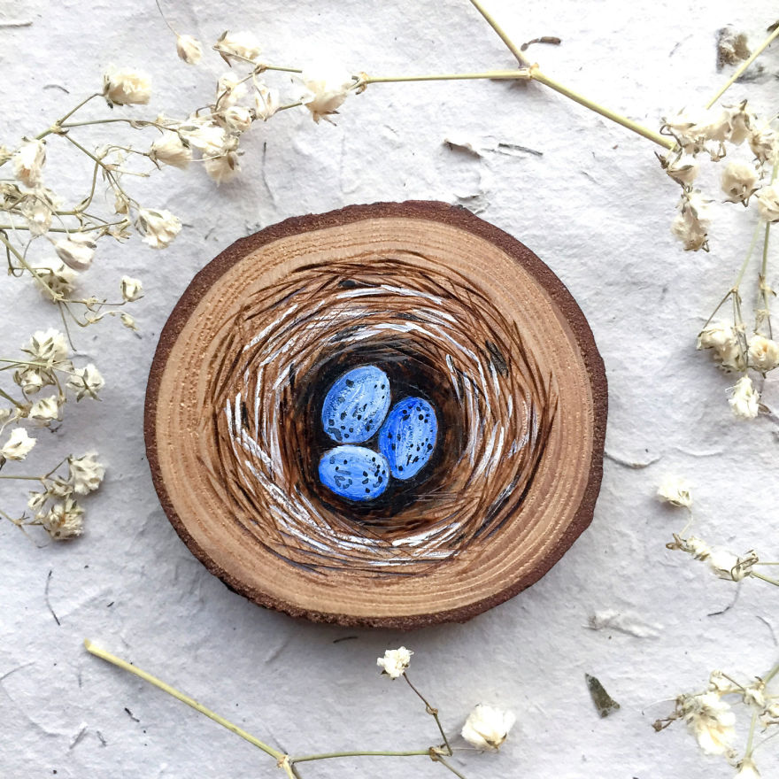 miniature painting wood nest egg by gracemere woods
