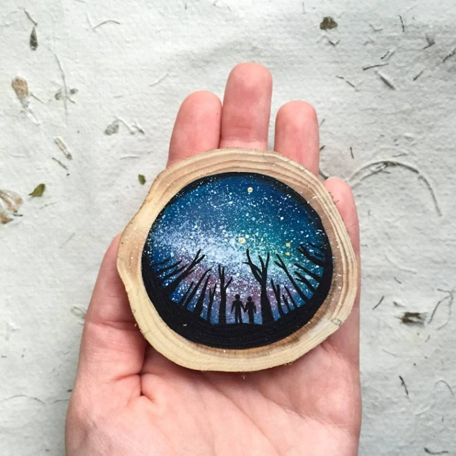 miniature wood painting sky by gracemere woods
