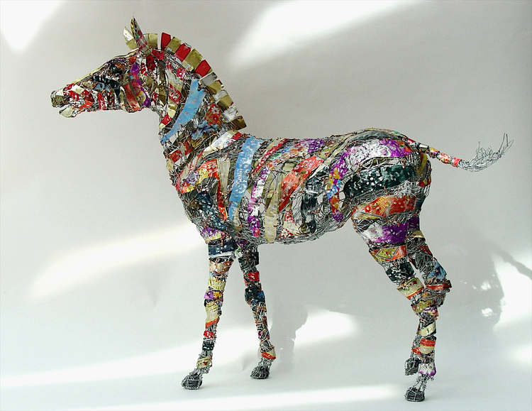 sculpture recycled material color zebra by barbara franc