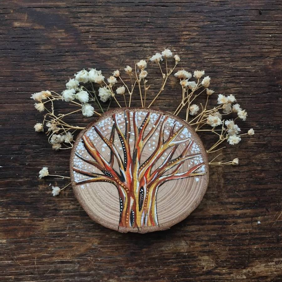 miniature wood painting tree by gracemere woods