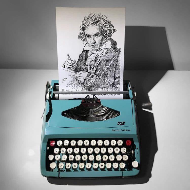 3 typewriter art portrait man by james cook
