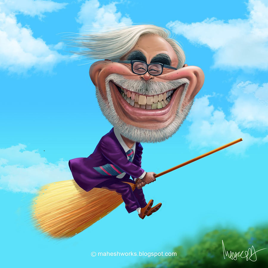 4 caricature flying man by mahesh nambiar