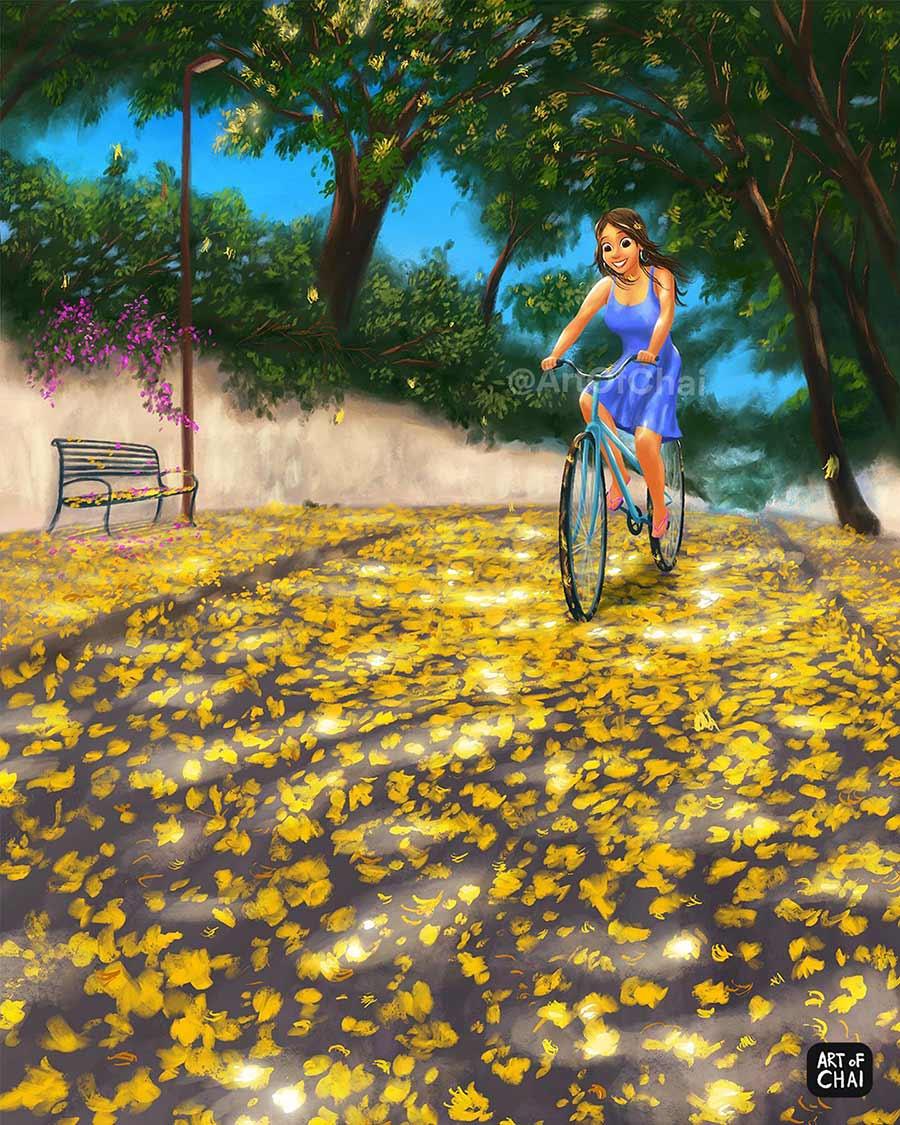 digital illustration cycling by artofchai