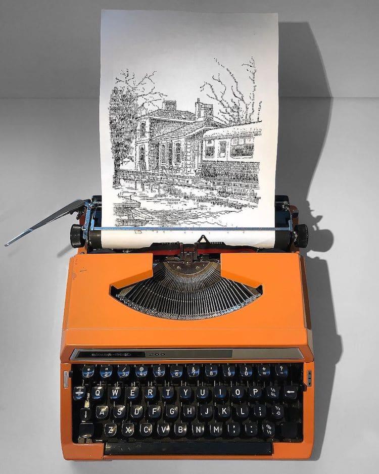 4 typewriter art portrait by james cook