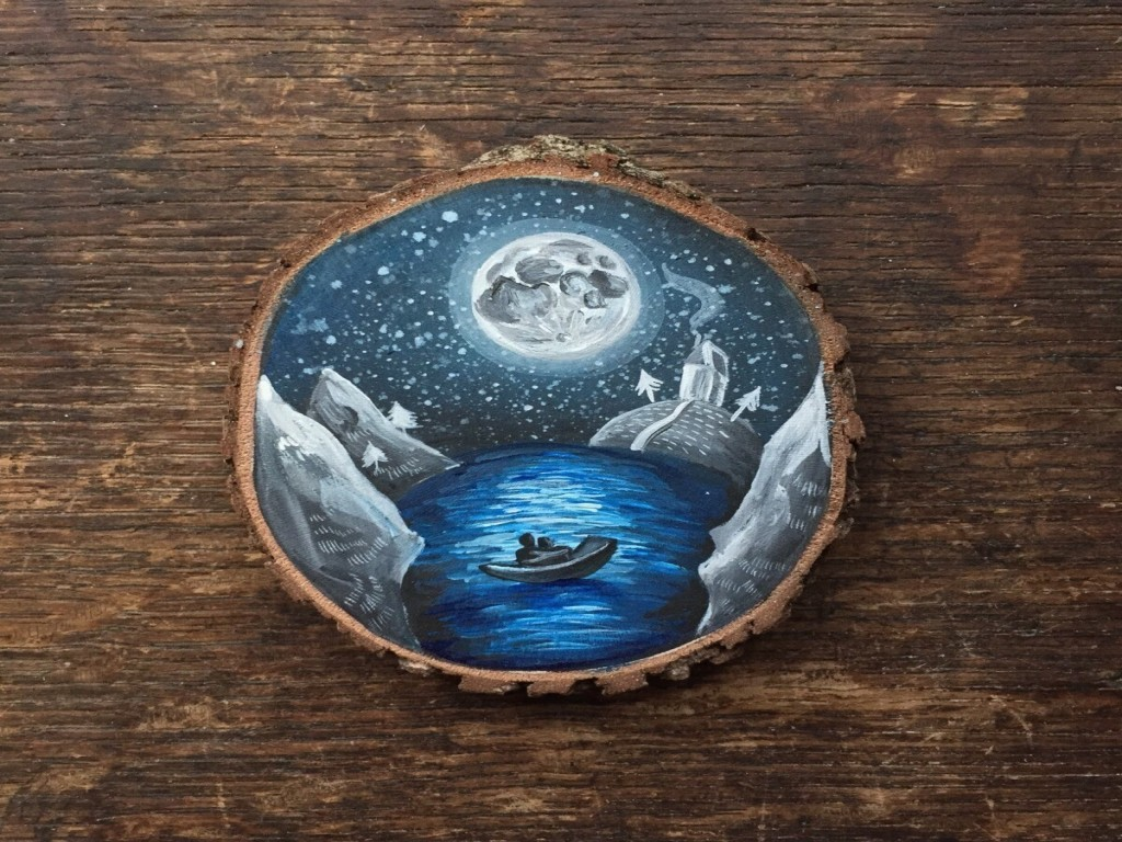 miniature wood painting boating by gracemere woods