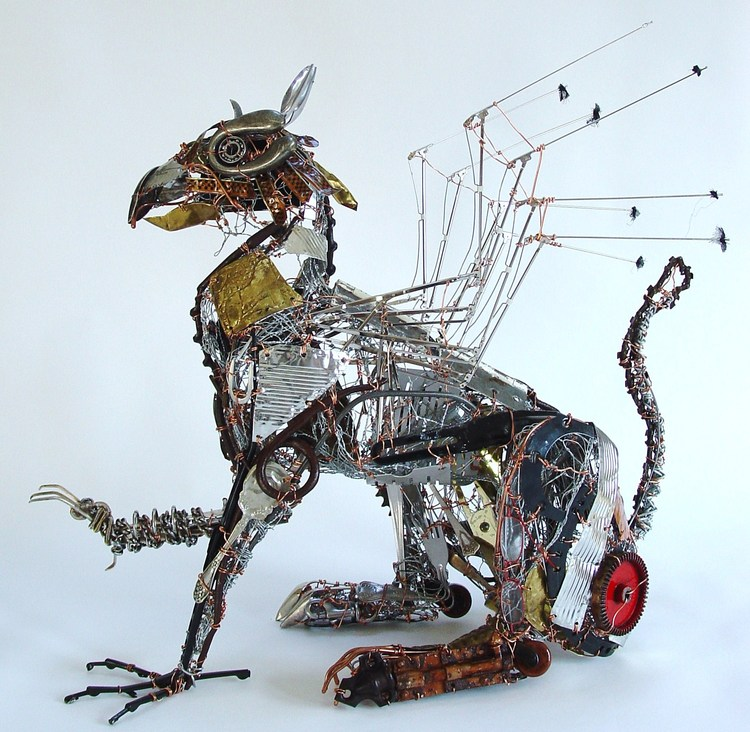 sculpture recycled material griffin by barbara franc