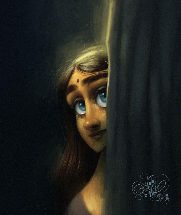 digital illustration hide seek by nikhil shinde