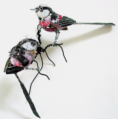 sculpture recycled material long tailed birds by barbara franc