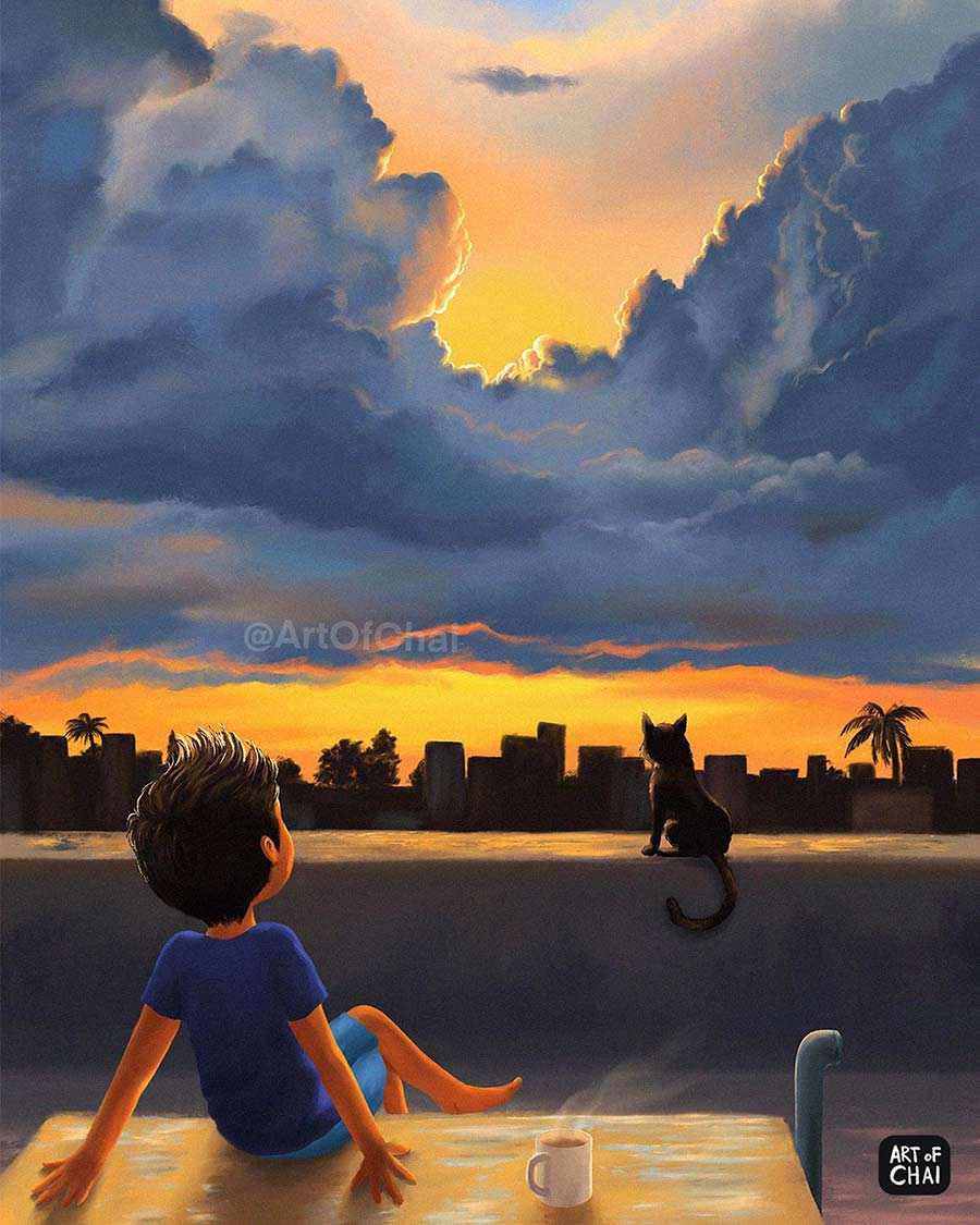 digital illustration watch sunrise by artofchai