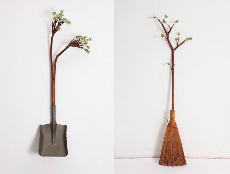 funny wood sculpture by broom camille kachani
