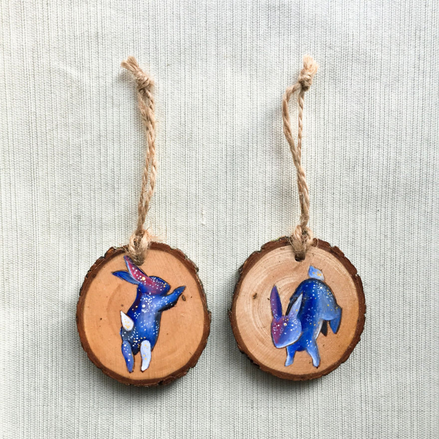 miniature wood painting rabbits by gracemere woods