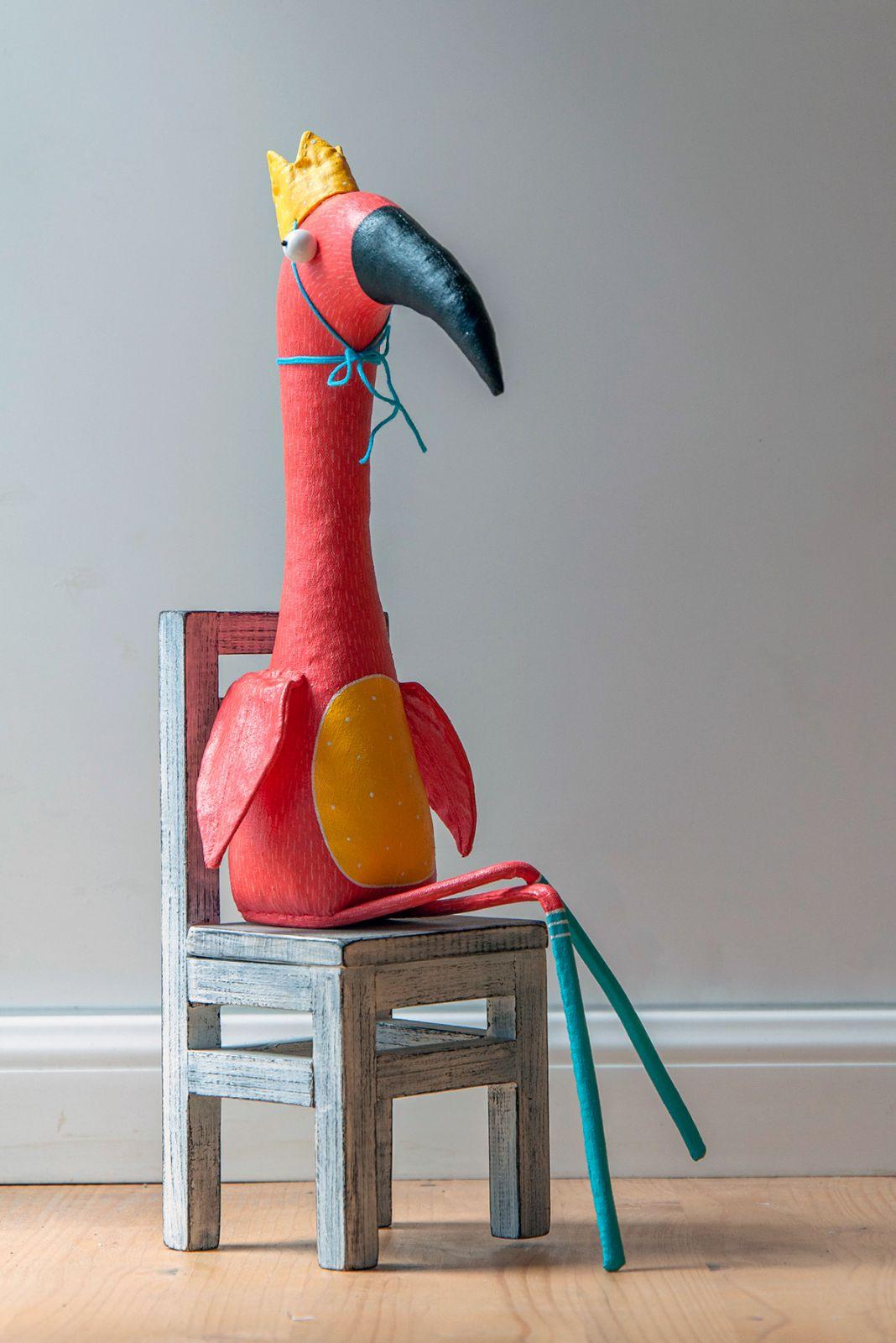 toy character sculpture flamingo chair by lidiya marinchuk
