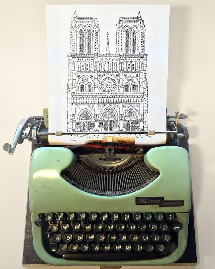 typewriter art castle by james cook