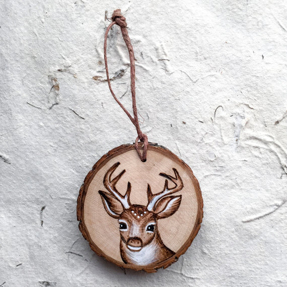 9 miniature wood painting reindeer