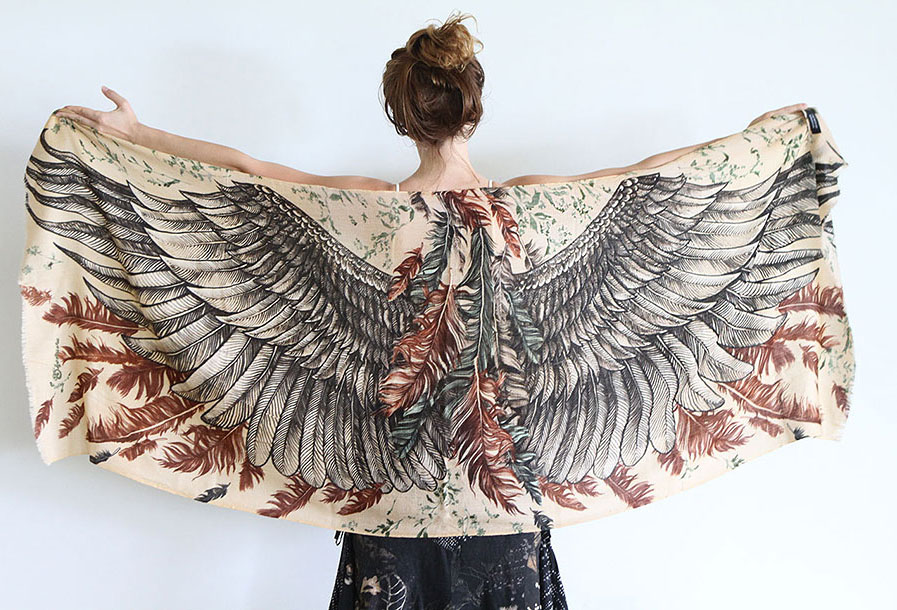 black wings scarf art