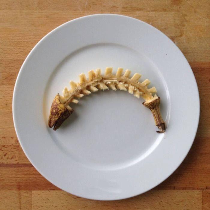 fishbone banana art