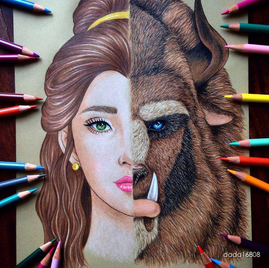 beauty beast color pencil drawings by dada