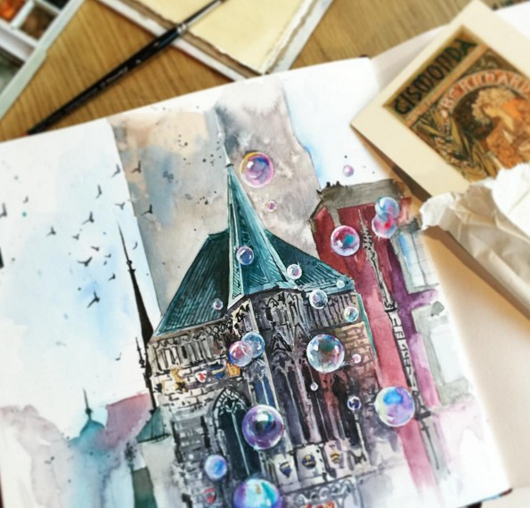 church watercolor paintings by julia barminova