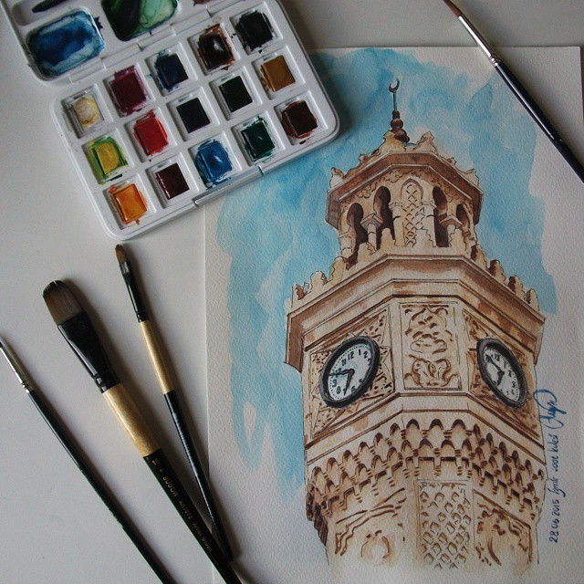 clock building realistic drawings by ayse bakir