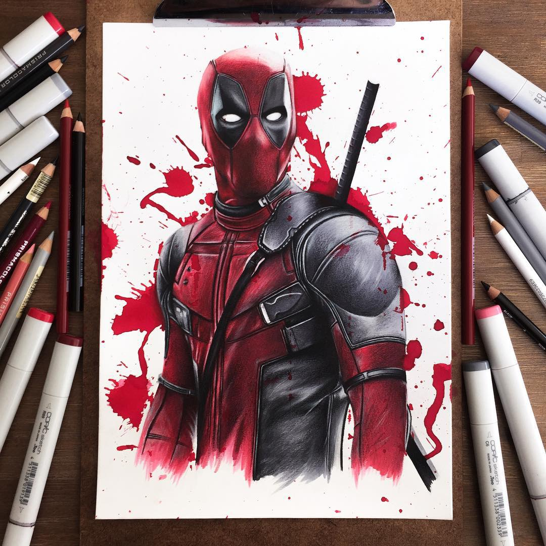 deadpool color marker drawings by stephen ward